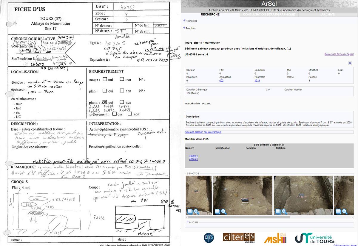 De la fiche d'enregistrement de terrain à la base de données - UMR 7324 CITERES-LAT