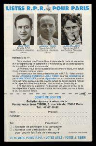Illustration du #FocusProjet : RPR Listes pour Paris Jean Tibéri candidat | © Sciences Po Paris