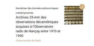 Numériser des données astronomiques contemporaines : projet terminé