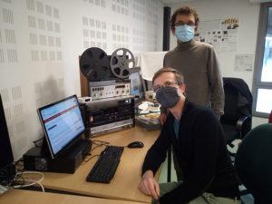 Parole de chercheurs >>> Michael Nauge (au premier plan) et André Magord, pour le projet Acadie Sonore