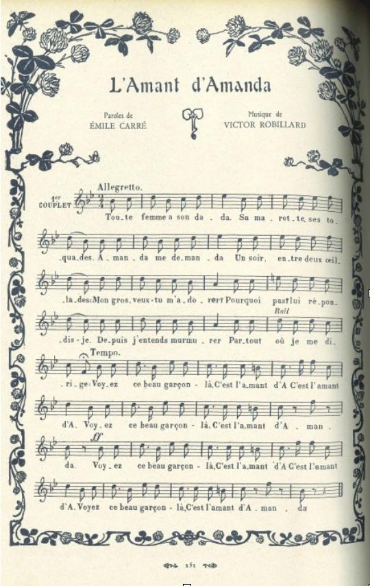 """""""L'amant d'Amanda"""", in Trente ans de café-concert, 300 illustrations, 60 chansons, Paulus, souvenirs recueillis par Octave Pradels, Paris : Société d'Edition et de Publications, 1908."""