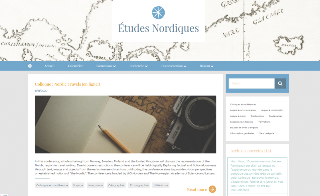 Page d'accueil de https://nordique.bnu.fr/