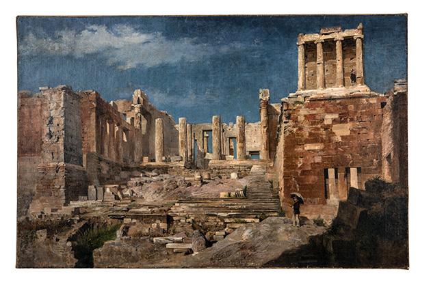 Entrée occidentale de l'Acropole d'Athènes. Huile sur toile, Émile Gilliéron père, années 1880/1890.
