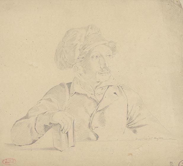 Carl Haller von Hallerstein, Autoportrait, Zante le 2 mai 1814, dessin au crayon sur papier calque, 45 x 35 cm