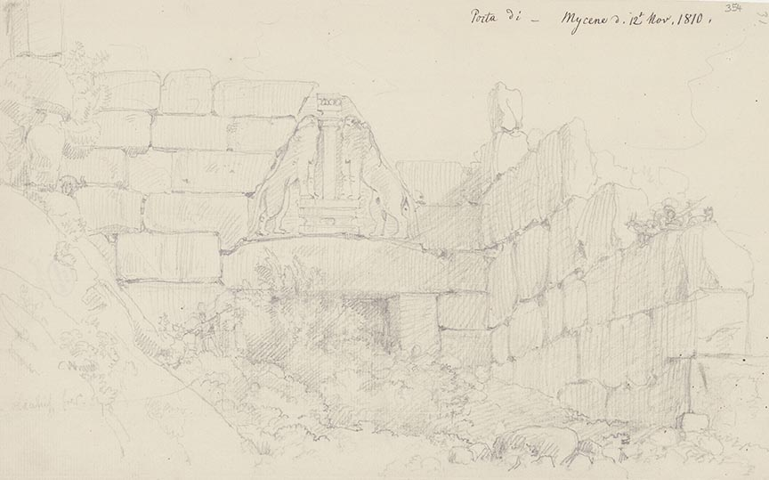 Carl Haller von Hallerstein, Porte des Lions à Mycènes, dessin au crayon sur papier, 19,3 x 31 cm
