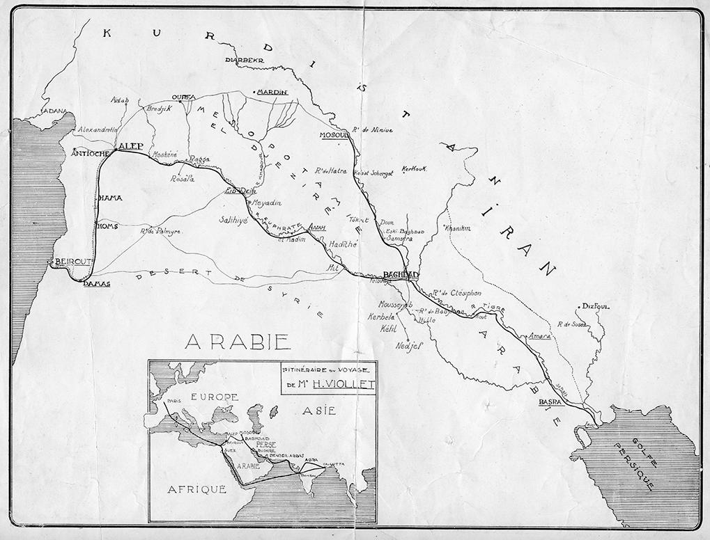 Itinéraire de voyage de M. H. Viollet. Crédits : Fonds Henry Viollet   Droits réservés CeRMI/BULAC