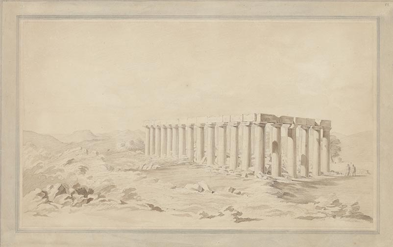 Carl Haller von Hallerstein, Temple d'Apollon Epicourios à Bassae (Phigalia), lavis sur papier, 19,3 x 31 cm